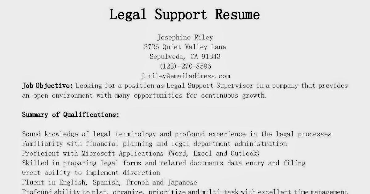 resume samples  legal support resume sample