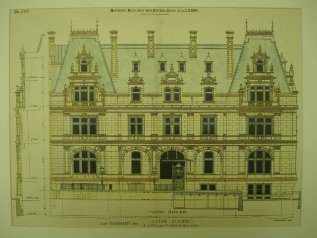 The Gilded Age Era Astor Mansion At 65th Street