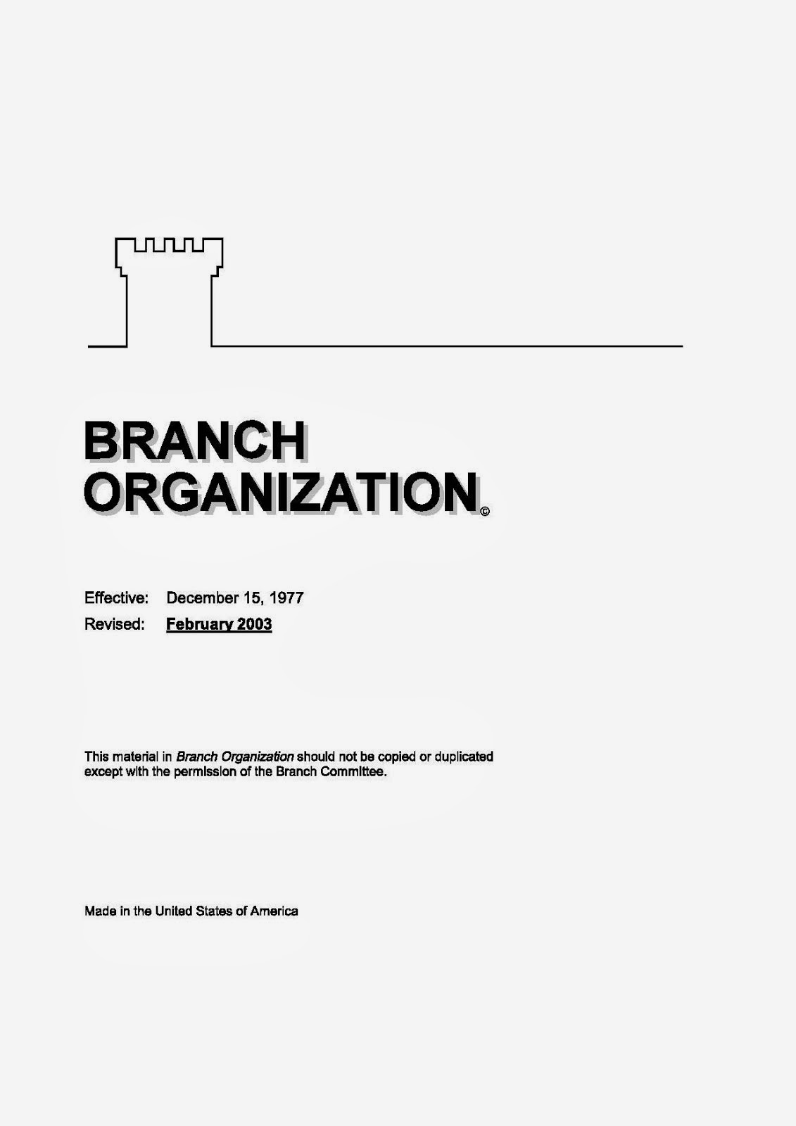 Branch Organization Manual 2003
