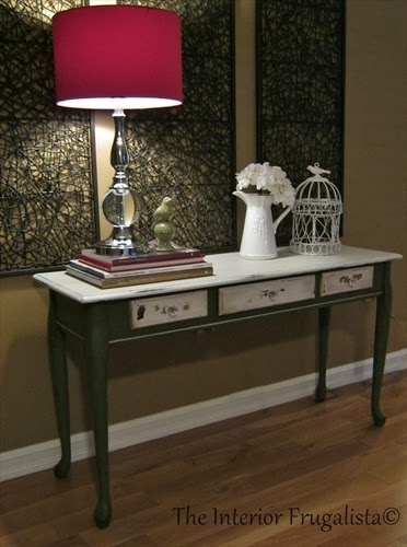 Cherry sofa table painted with Boxwood Green and Ironstone White milk paint.