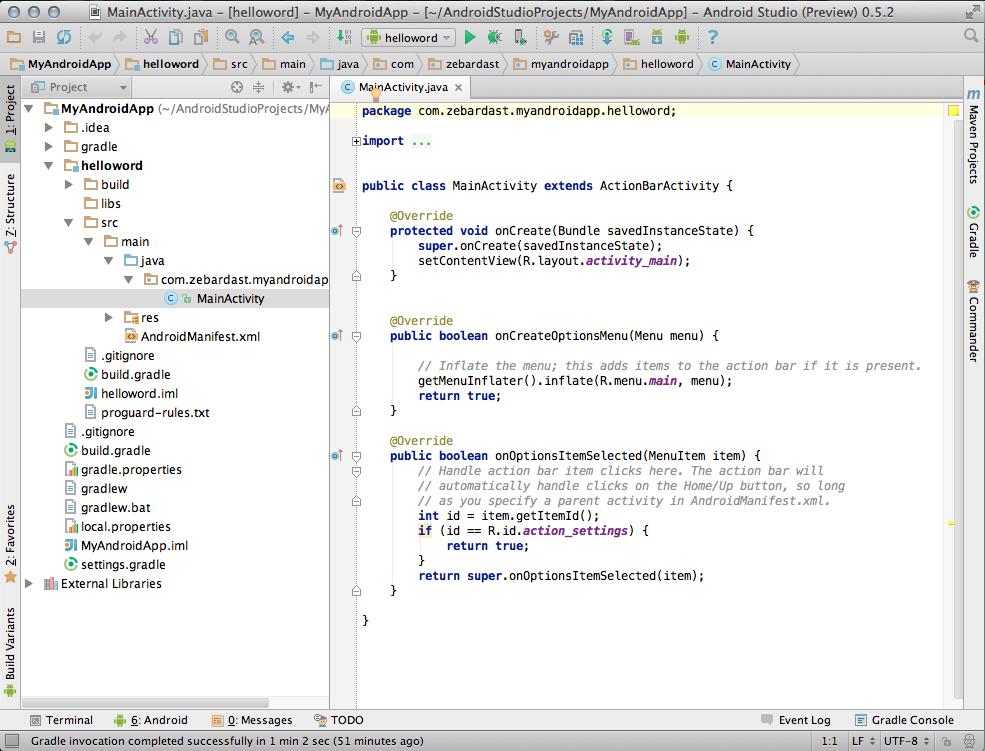 صفحه پروژه در Android Studio