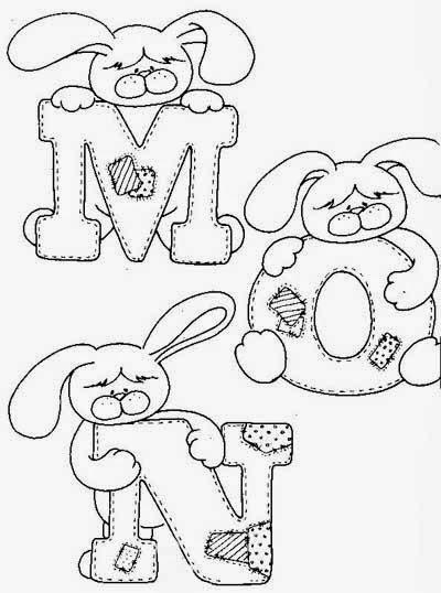 desenho do alfabeto do coelhinho para pintar