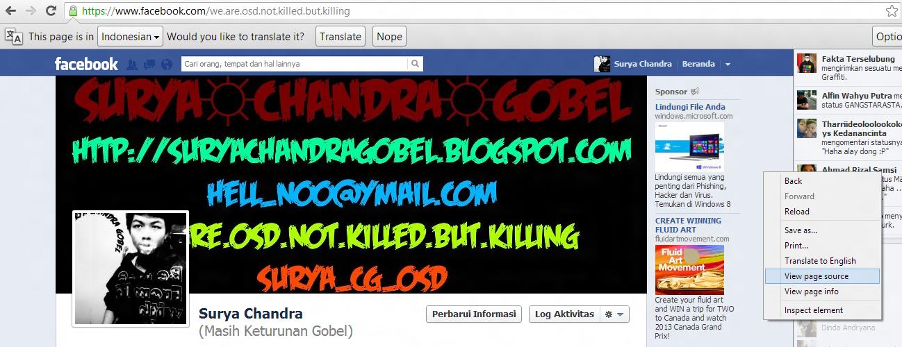 Kamu akan mendapatkan halaman Source dari akun Facebook kamu. Tekan