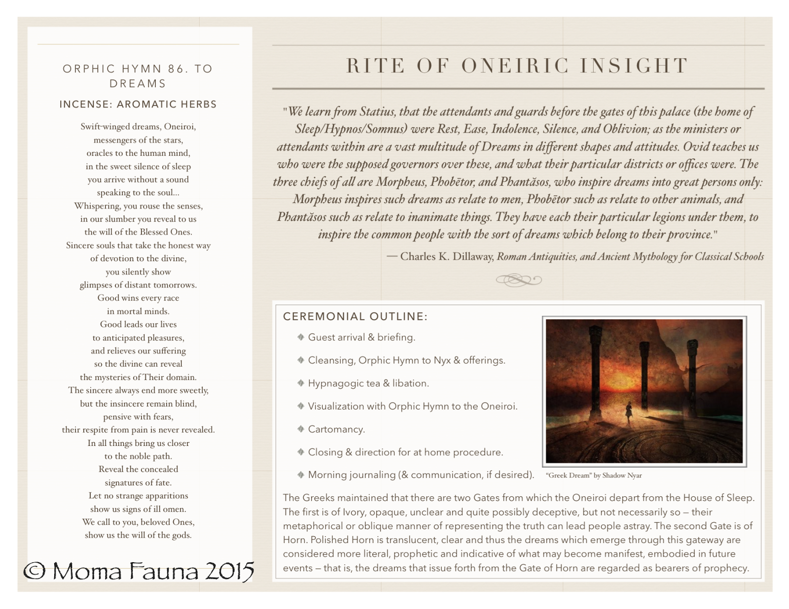 """Rite of Oneiric Insight"" pamphlet, inside panels"