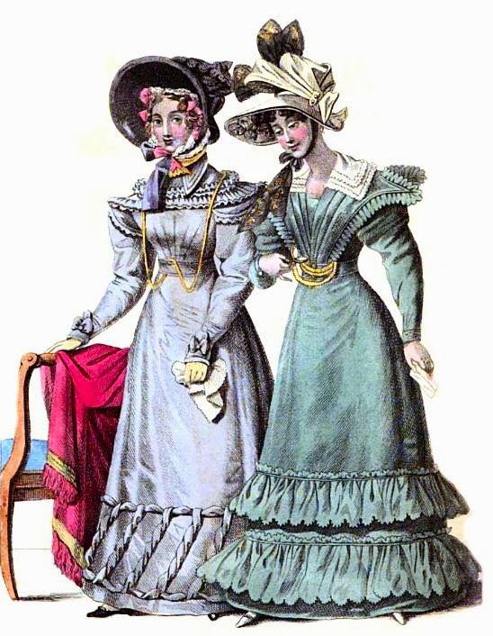 Walking dress (left) and morning dress (right)   from La Belle Assemblée (Jan 1827)