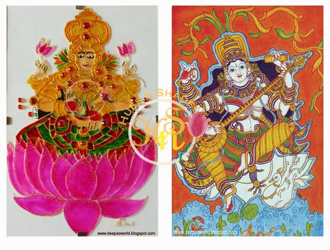 Goddess-Lakshmi-and-Saraswathy-Kerala-Mural-Painting-HnS