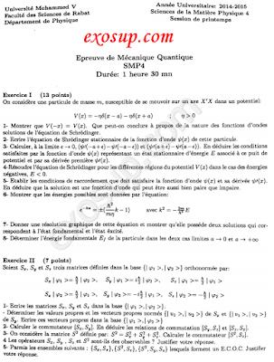 Corrigé contrôle final de Mécanique quantique SMP S4-FSR-2014-2015
