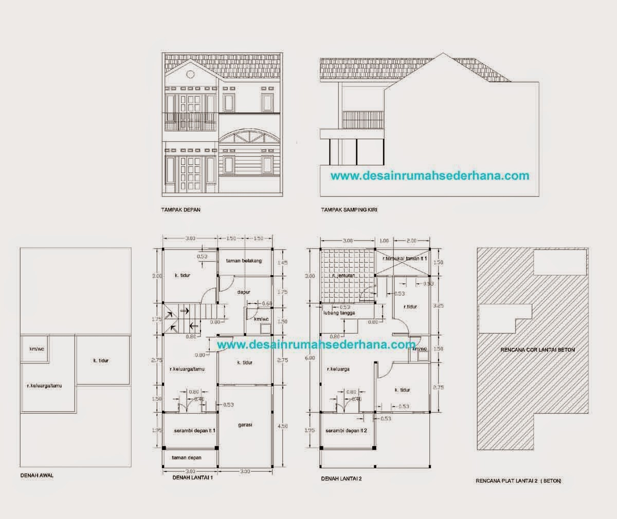 Desain Rumah Minimalis 2 Lantai Type 72