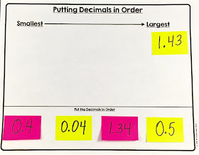 Teach decimals with post-it notes