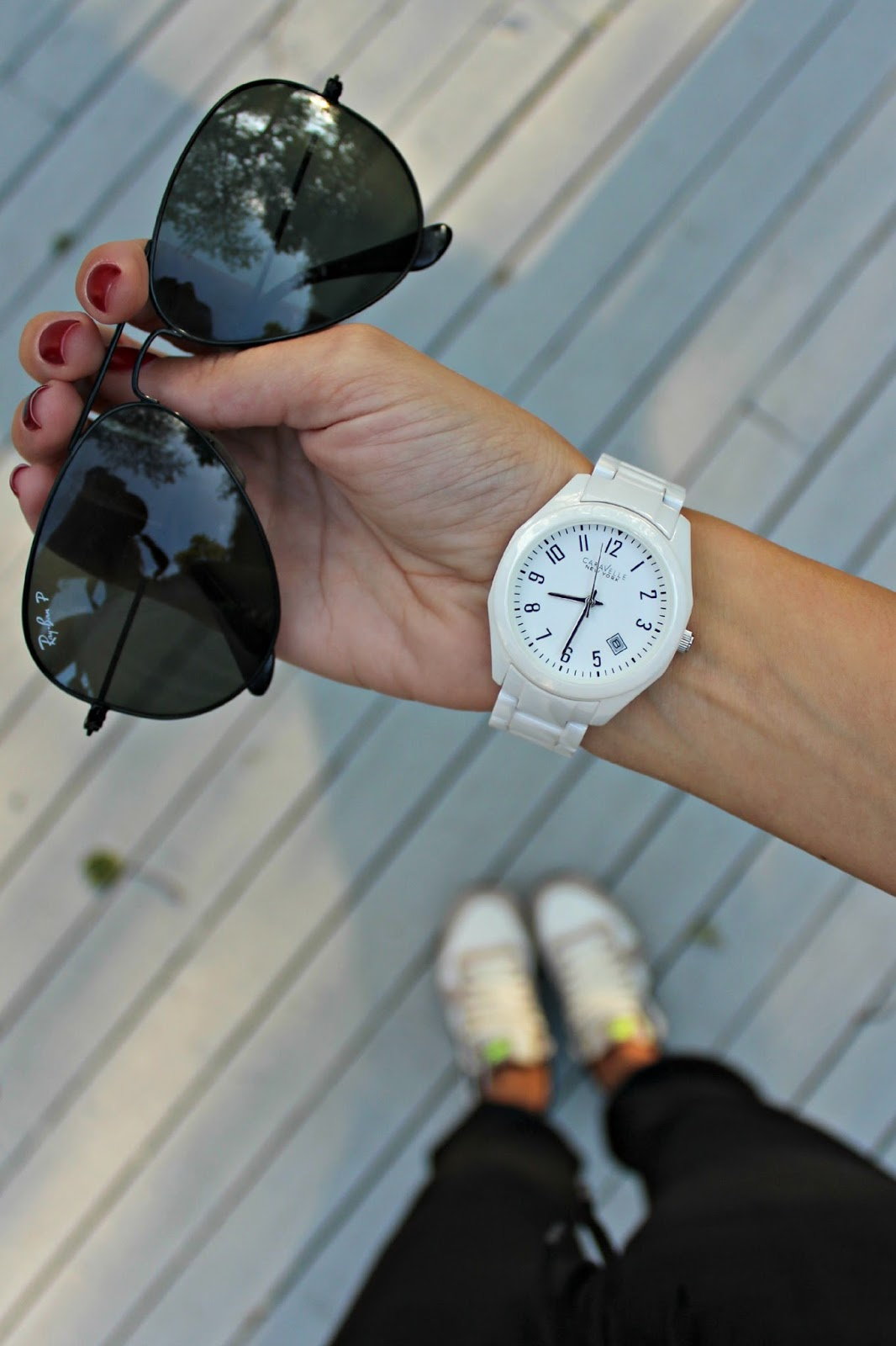 caravelle white watch