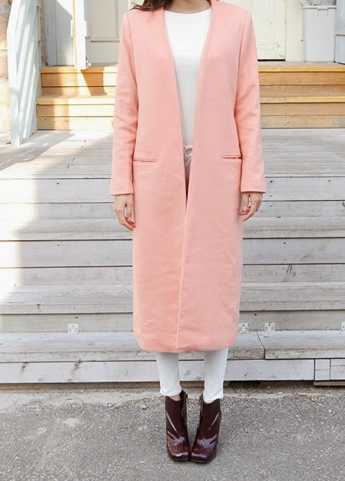 Collarless Maxi Coat