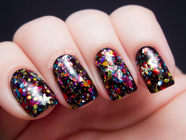 Chalkboard Nails: GlitterDaze Rainbow Bridge
