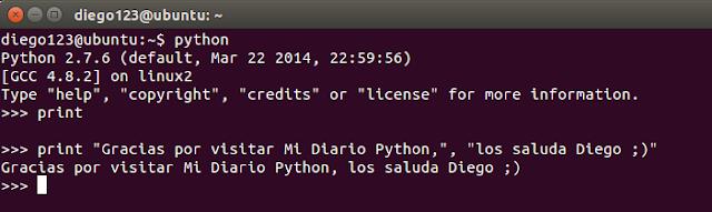 Sentencia print en Python