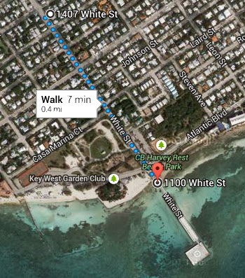 Map from 1407 White Street to Higgs Beach, Pier, Park, Restaurant