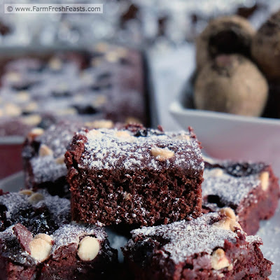 These fudgy brownies are topped with dried cherries and white chocolate chips, stuffed with beets, and a divinely sweet way to enjoy beets from the farm share.