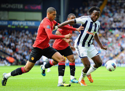 Chris Smalling Manchester United vs West Brom Barclays Premier League