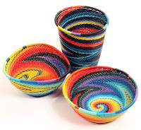 Colorful Bowls Made from Woven Wire