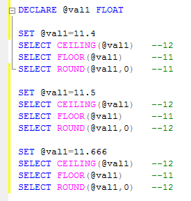 Difference between Ceiling, Floor and Round in SQL Server
