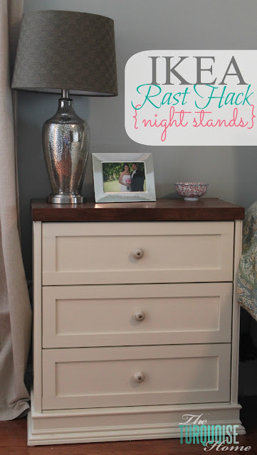 Amazing!!! Take a $35 IKEA Rast dresser and a little molding, paint and elbow grease and you'll have a pretty, customized night stand! IKEA Rast Hack Night Stands | DIY Tutorial | TheTurquoiseHome.com
