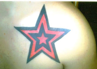 Red and Black Star Tattoo Design