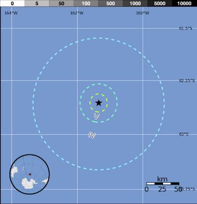 Epicentro sismo 6,2 grados en el Pacífico Antartico, 15 de Enero 2013