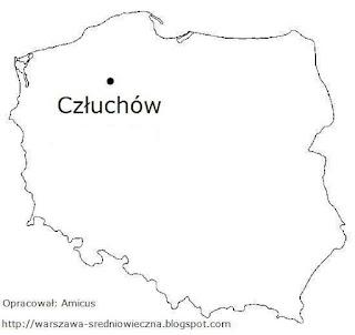 Mapa Polski z miejscowością Człuchów
