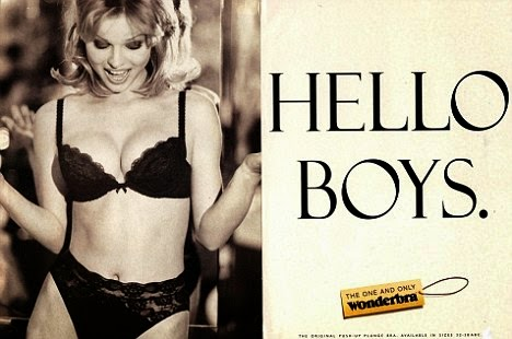 Hello Boys, Wonderbra, Eva Herzigova, Adverts, The 90s, 1990s, Funny, Pictures than make you feel old,