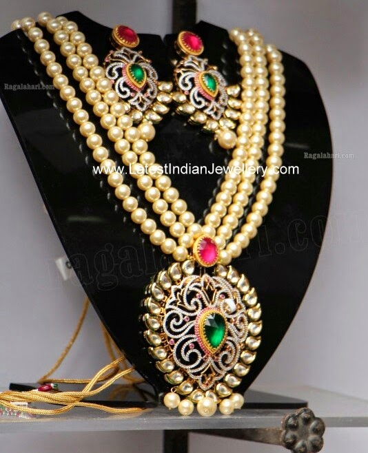pearls chain kundan pendant set