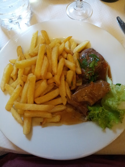 Lamb and chips for lunch in France