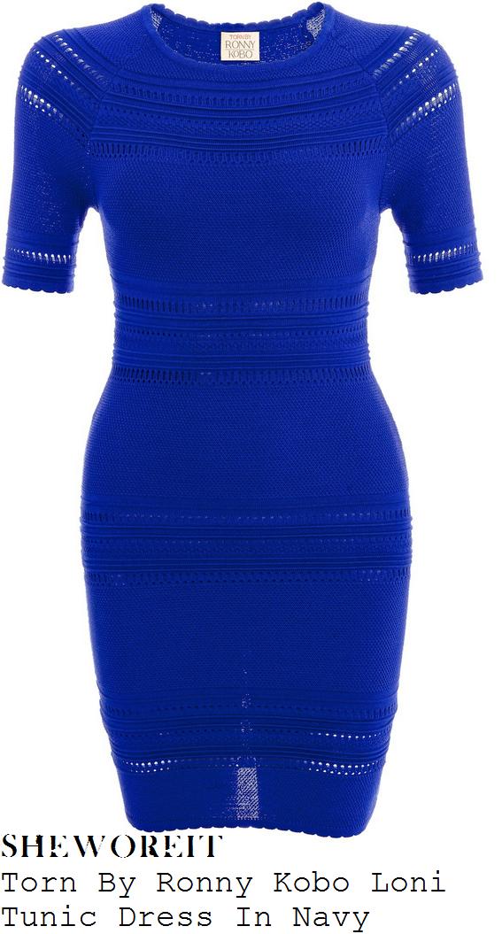 lauren-pope-bright-blue-crochet-mini-dress