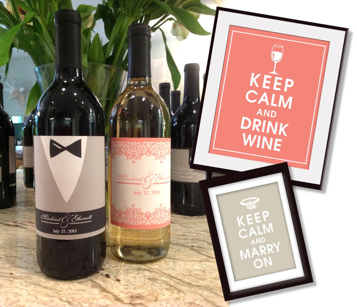 Personalised Keep Calm And Drink Wine Bottle Label Labels: Keep Calm Shop: DIY Custom Wedding Wine Labels