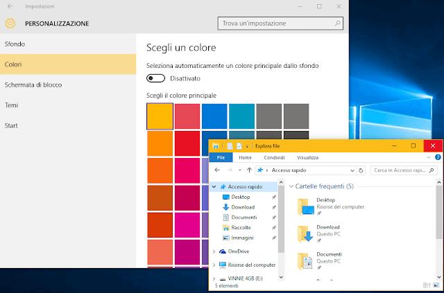 Windows 10 scegliere colore barra titolo finestre