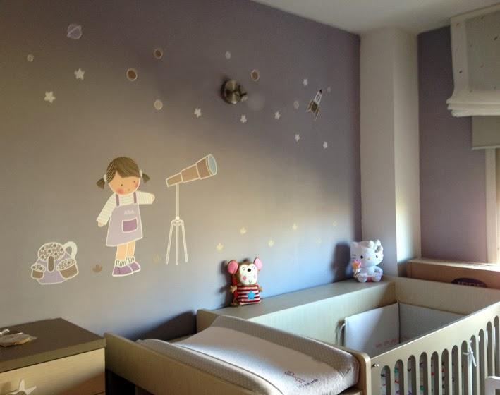Vinilos infantiles personalizados vinilo ni a telescopio for Vinilo habitacion infantil