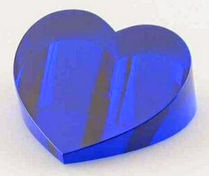 "Blue Heart Slant Paperweight Crystal Award (1/4"" - 1.5""x2.75""x3 1/8"")"