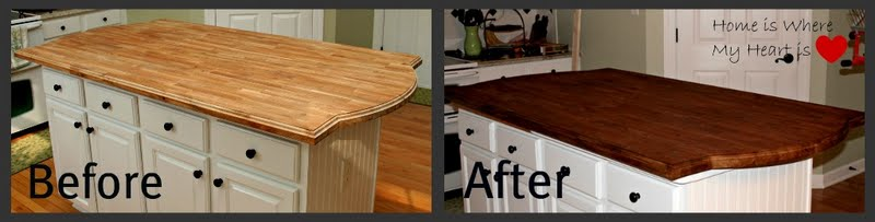 A Before And After Of Our New Island Butcherblock Countertop