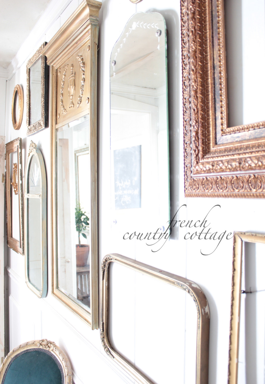 Gallery wall of frames mirrors french country cottage for Bungalow style picture frames