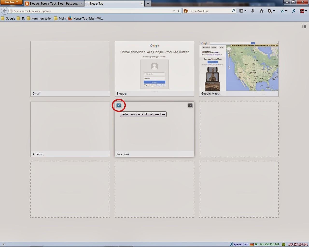 Firefox - Neuer Tab Seite - Verlauf festpinnen