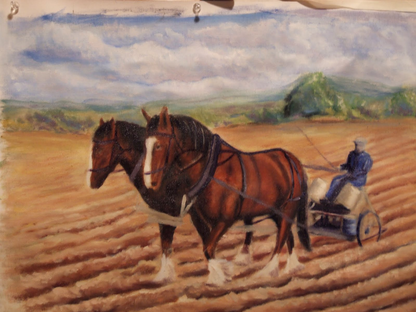Plough horse oil painting step 8