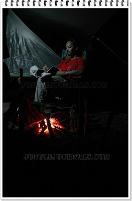Jungle Camping Trip In The Wet Monsoon Season Relaxing Near Campfire