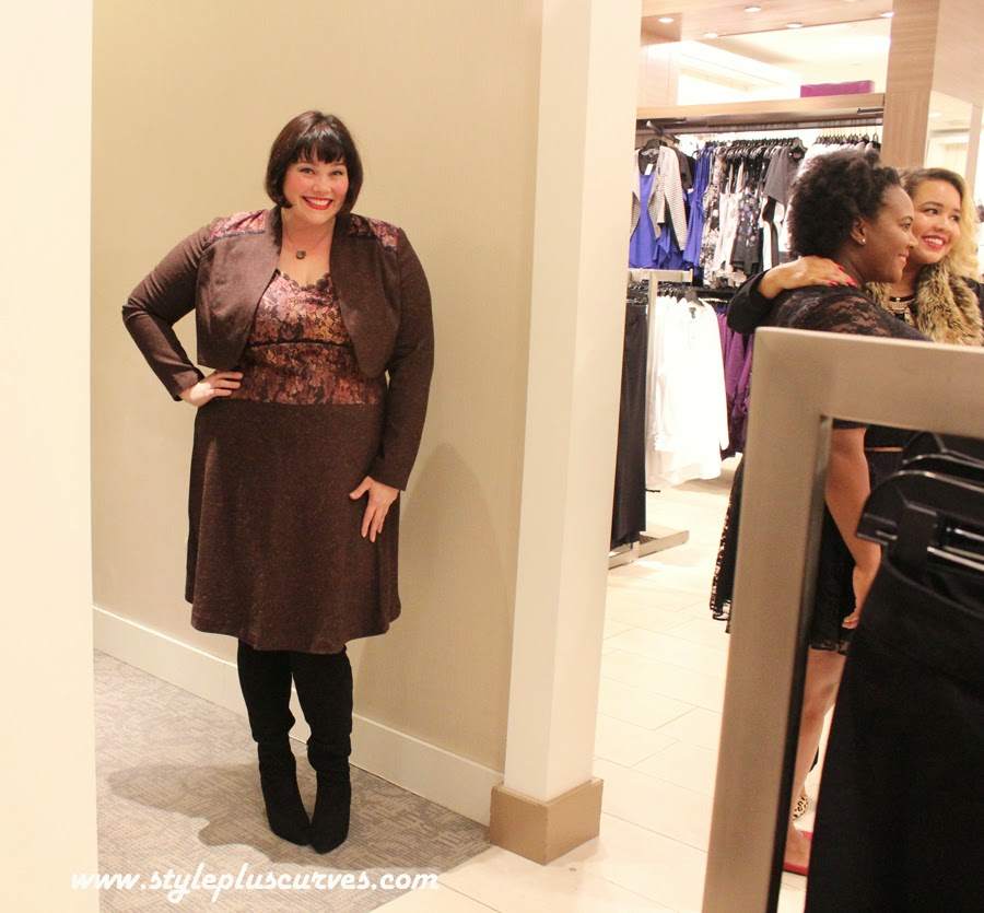 Amber from Style Plus Curves in the Isabel Toledo Tweed Slip Dress with Bolero from Lane Bryant