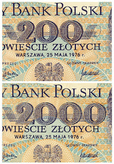 image of genuine 200 Polish Zloty banknote and counterfeit copy