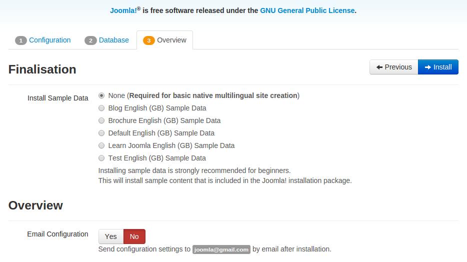 instal joomla-step 3 - finalisation