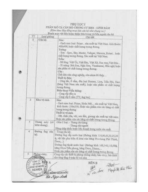 Phụ lục thiết bị trong hợp đồng Chung cư hh3 linh đàm