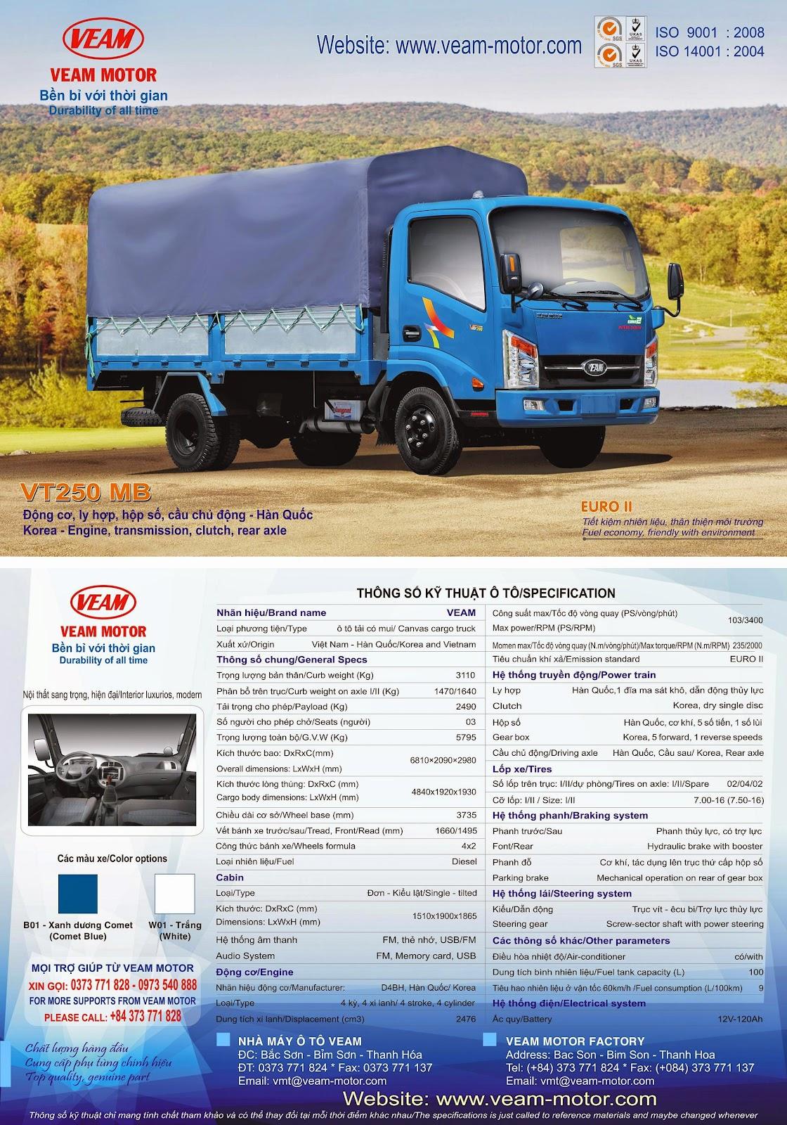 xe tải Veam 2 tấn 5 - VT250 MB