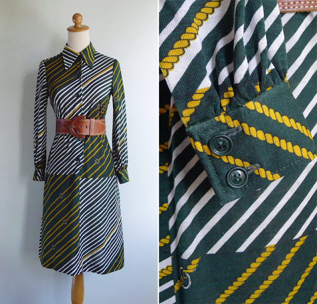 vintage 70's diagonal stripes green dress