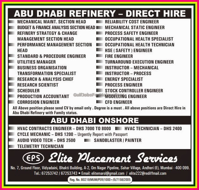 abu dhabi refinery and onshore job recruitment gulf jobs for malayalees. Black Bedroom Furniture Sets. Home Design Ideas