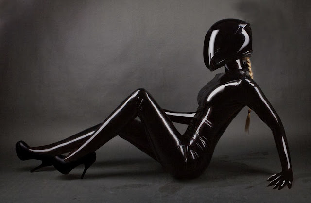 Fetish Inspirations : Biker With Black Latex Catsuit