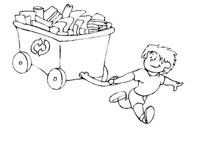 Niño reciclando papel para colorear ~ 4 Dibujo