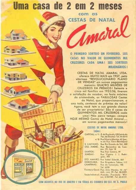 Propaganda da famosa Cesta de Natal Amaral, em dezembro de 1956.