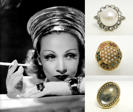 marlene dietrich, cocktail rings, vintage jewelry